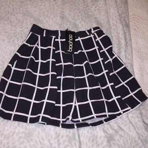Boohoo Skirts - Petite Erin checked box pleat skater skirt